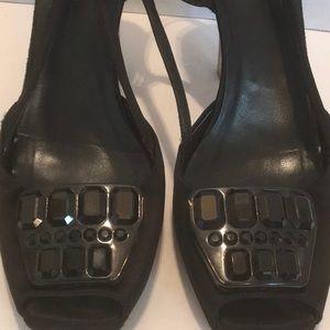 PRADA BLACK SATEEN peep toe beaded Lucite heels 41